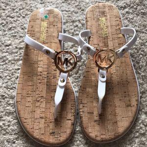 Michael Kors white cork sandals
